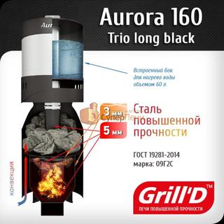 Печь для бани GRILL'D Aurora TRIO 160 (Long black) (миниатюра)