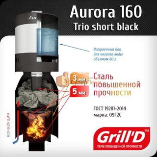 Печь для бани GRILL'D Aurora TRIO 160 (Short black) (миниатюра)